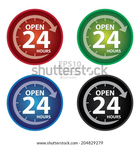 Vector : Colorful Circle Glossy Style Open 24 Hours Icon, Button, Sticker or Label Isolated on White Background - stock vector