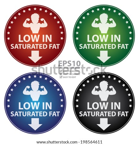 Vector : Colorful Circle Low in Saturated Fat With Bodybuilder or Muscle Man Sign Sticker, Label or Icon Isolated on White Background  - stock vector