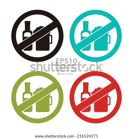 Vector : Colorful Circle No Alcohol Prohibited Sign, Icon or Label Isolate on White Background  - stock vector