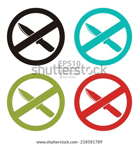 Vector : Colorful Circle No Knife or No Weapon Sign, Icon or Label Isolate on White Background  - stock vector