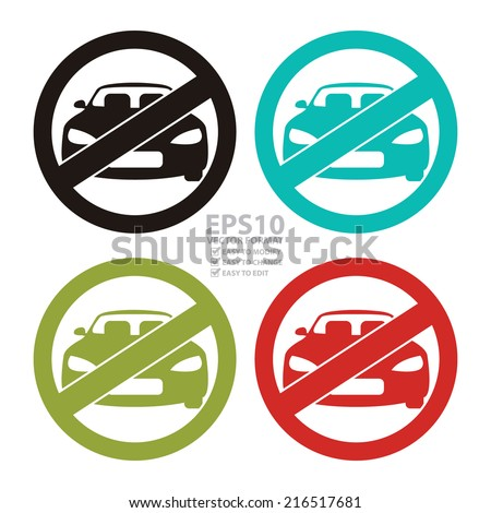Vector : Colorful Circle No Parking Prohibited Sign, Icon or Label Isolate on White Background  - stock vector