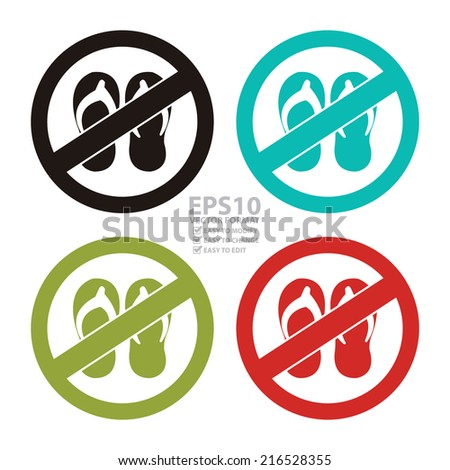 Vector : Colorful Circle No Sandals or No Flipflop Prohibited Sign, Icon or Label Isolate on White Background