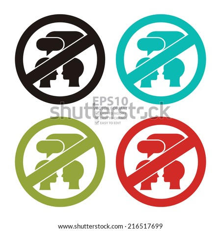 Vector : Colorful  Circle No Speaking Prohibited Sign, Icon or Label Isolate on White Background  - stock vector