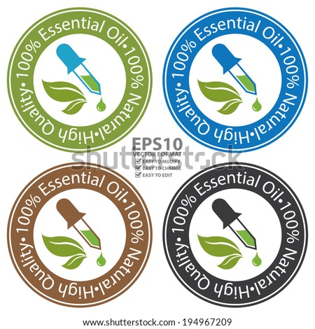 Vector : Colorful Circle 100 Percent Essential Oil, 100 Percent Natural and High Quality Sticker, Label or Icon Isolated on White Background - stock vector