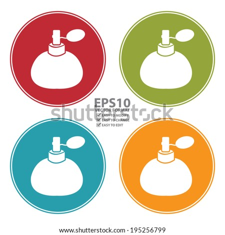 Vector : Colorful Circle Perfume, Cologne or Fragrance Spray Bottle Icon, Sign or Symbol Isolated on White Background  - stock vector