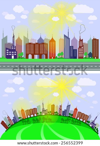 Vector colorful city in the morning - stock vector
