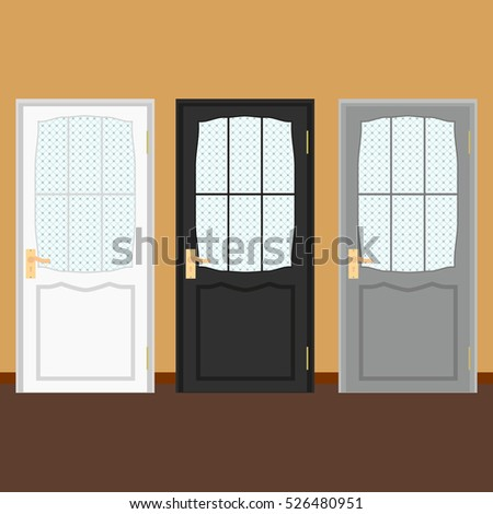 vector colorful closed door with frame isolated on background realistic and flat color style design