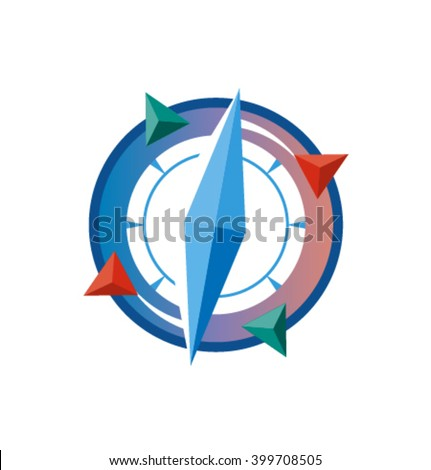 Vector colorful compass icon - stock vector