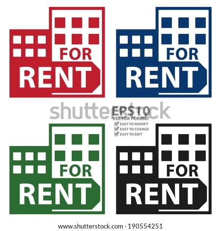 Vector : Colorful Condominium, Apartment, Building or Office For Rent Isolated on White Background  - stock vector