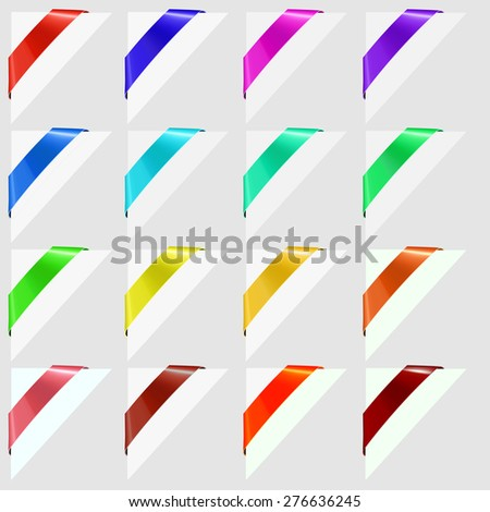 Vector Colorful Corners Marks Isolated on Grey Background. - stock vector