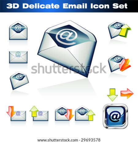 VECTOR Colorful 3D Emails Icon Set - stock vector