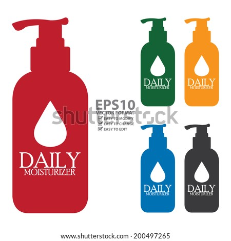 Vector : Colorful Daily Moisturizer Lotion Bottle Icon or Label Isolated on White Background - stock vector