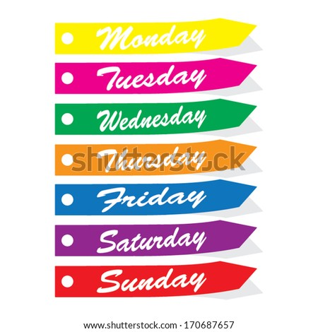 Vector Colorful 7 Days Week Monday Stock 170687657
