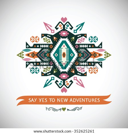 Vector colorful decorative element on native ethnic style - stock vector