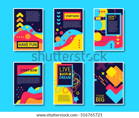 Vector Colorful Design Abstract Modern Style Template Collection for Banner, Flyer, Placard, Brochure and Poster on Blue Background. - stock vector