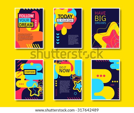 Vector colorful design abstract modern style template collection for banner, flyer, placard, brochure and poster on yellow background. - stock vector
