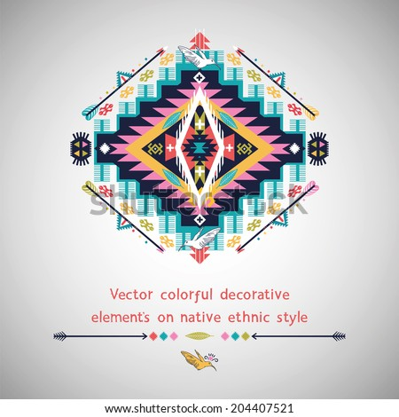 Vector colorful elements on native ethnic style - stock vector