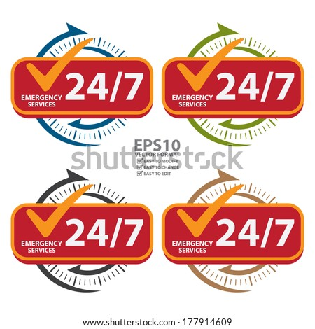 Vector : Colorful 24/7 Emergency Services Icon, Badge, Label or Sticker for Customer Service, Support or CRM Concept Isolated on White Background  - stock vector