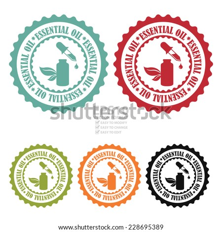 Vector : Colorful Essential Oil Stamp, Badge, Icon, Label or Sticker Isolated on White Background  - stock vector