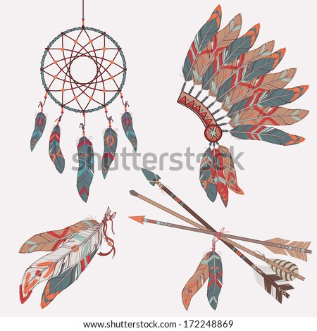 Vector colorful ethnic set with dream catcher, feathers, arrows and native american indian chief headdress - stock vector