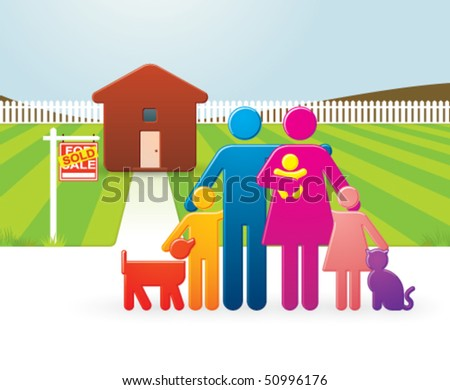 Vector Colorful Family in Front of their Newly Bought Country Home - stock vector