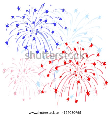 Vector colorful fireworks in honor of Independence  on white background - stock vector
