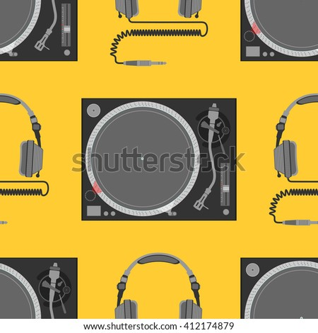 vector colorful flat design electrical device vinyl turntable and dj headphones decoration seamless pattern orange background