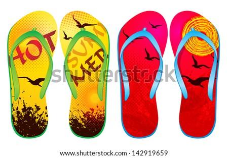 Vector colorful flip flops / ( Abstract Design ) / Beach Sandals  - stock vector