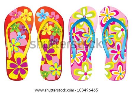Vector colorful flip flops ( Flower Design ) - stock vector