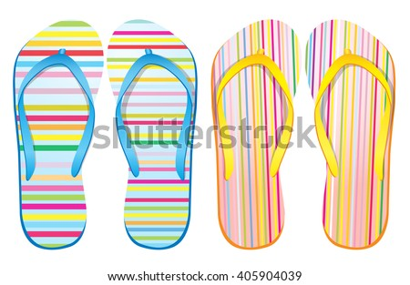 Vector colorful flip flops / ( vertical stripes abstract design ) / Beach Sandals