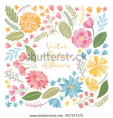 Vector colorful floral hand drawn elements collection with leaves and flowers. Decorative floral set for fabric, textile, wrapping paper, card, invitation, wallpaper, web design. - stock vector