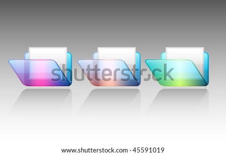 Vector colorful folder icon set - stock vector
