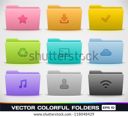 Vector Colorful Folders - stock vector