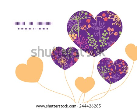 Vector colorful garden plants heart symbol frame pattern invitation greeting card template
