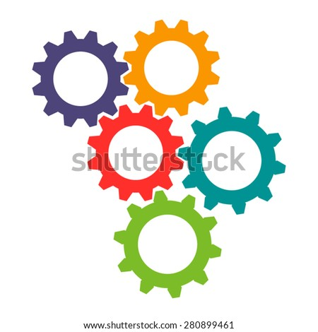Vector colorful gears icon in flat design. Cogwheels connection - stock vector