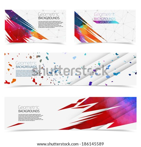 Vector colorful geometric banners with watercolor. - stock vector