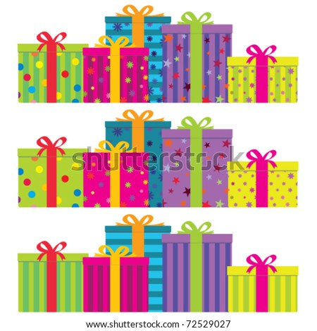 Vector colorful gift boxes with ribbons & bows.  Horizontal arrangement with 3 decoration styles - plain striped (bottom), plain decorated (middle) and a combination of both (top). No gradients. - stock vector