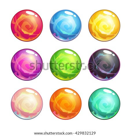 Vector colorful glassy magic balls set, isolated on white background, cartoon fantasy game assets - stock vector