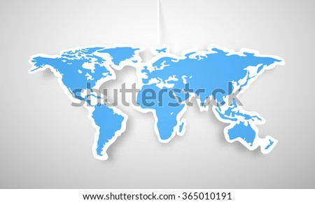 Vector colorful globe map of the world sticker. - stock vector