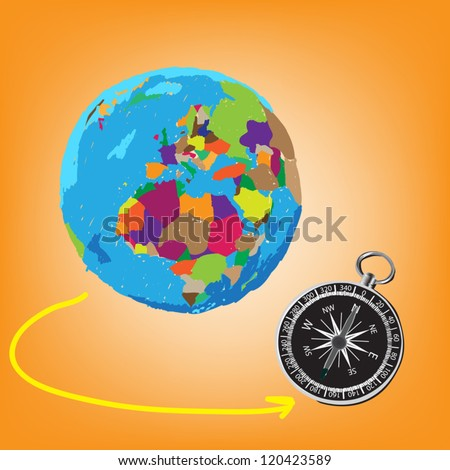 Vector: Colorful globe painted and compass Illustrator, EPS 10. - stock vector