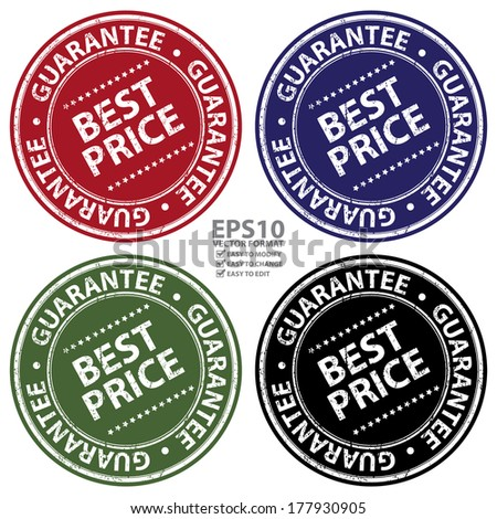 Vector : Colorful Grunge Style Best Price Guarantee Icon, Badge, Label or Sticker for Promotional Sale or Marketing Campaign Isolated on White Background - stock vector