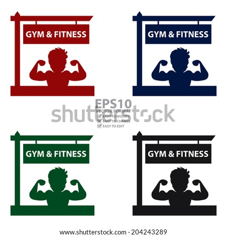 Vector : Colorful Gym and Fitness Road Sign With Bodybuilder or Muscle Man Sign or Icon Isolated on White Background  - stock vector