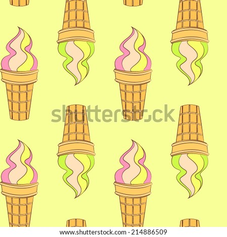 Vector colorful hand drawn doodle cartoon waffle cone ice cream seamless pattern - stock vector
