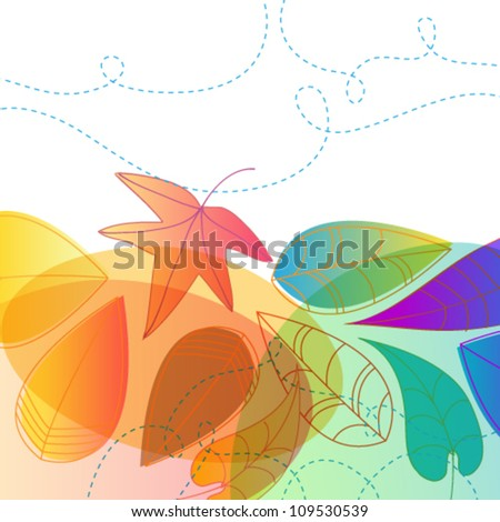 Vector colorful, hand drawn style autumn leaves background illustration - stock vector