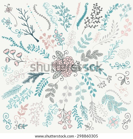Vector Colorful Hand Sketched Rustic Floral Doodle Decorative Branches, Swirls, Design Elements. Hand Drawing Vector Illustration. Discrete Brushes.