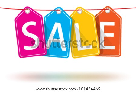 Vector colorful hanging sales tags on a horizontal string with optional ground shadows - stock vector
