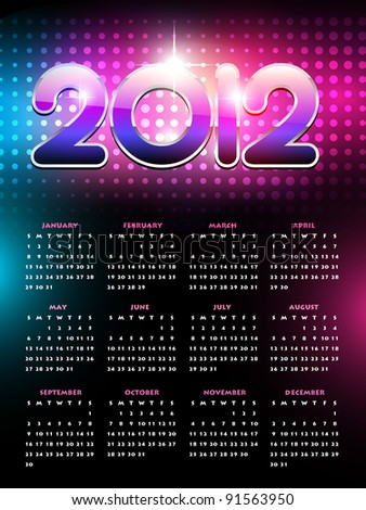 vector colorful happy new year calender design