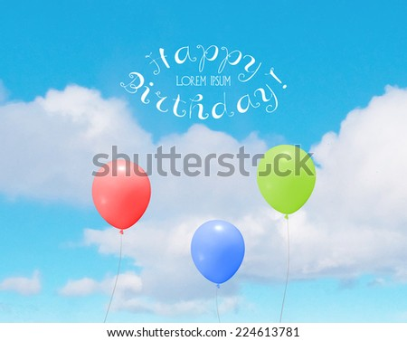 Vector colorful helium balloons over a blue sky with clouds. Birthday greeting card. - stock vector