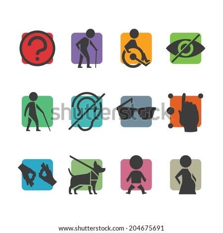 Vector colorful icon set of access signs for physically disabled people like blind deaf mute and wheelchair - stock vector