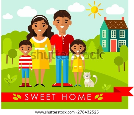Vector colorful illustration of african, american family and house in flat style Set of pictures african, american family and landscape with home concept  - stock vector